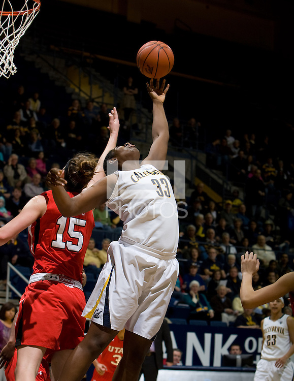 Talia Caldwell of California tries to rebound the ball during the game against Utah Utes at Haas Pavilion in Berkeley, California on January 27th, 2013.  California defeated Utah, 71-54.