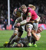 3rd December 2017, Twickenham Stoop, London, England; Aviva Premiership rugby, Harlequins versus Saracens; Renaldo Bothma of Harlequins drives forward