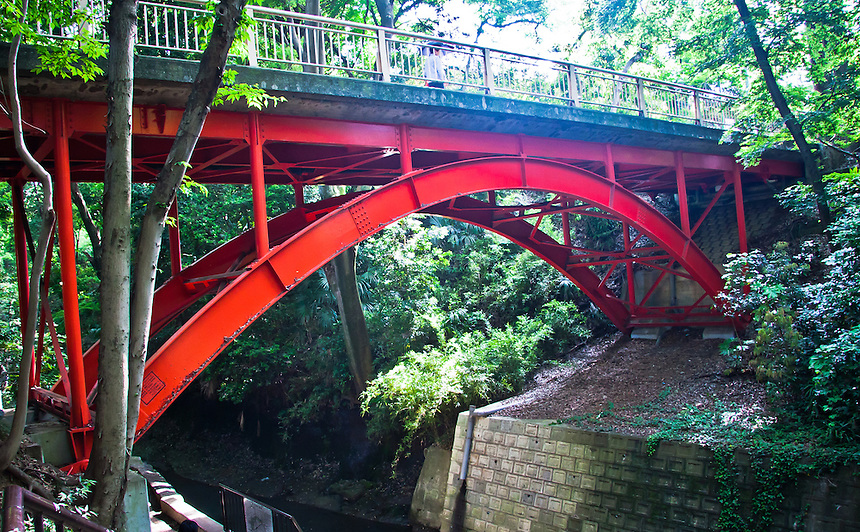 Todoroki Valley`s iconic red bridge spanning the Yazawa river in Tokyo.