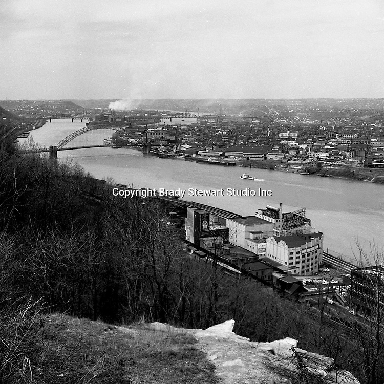 Pittsburgh PA:  View looking down the Ohio River toward the West End Bridge and Neville Island - 1962
