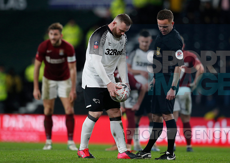 Wayne Rooney of Derby County place the ball to take a penalty during the FA Cup match at the Pride Park Stadium, Derby. Picture date: 4th February 2020. Picture credit should read: Darren Staples/Sportimage