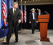 Chicago, IL - December 17, 2008 -- United States President-elect Barack Obama, right, follows former Iowa Governor Tom Vilsack, left, and United States Senator Ken Salazar (Democrat of Colorado), center, into a news conference in the Drake Hotel in Chicago, Illinois, USA where he named Vilsack his choice for Secretary of Agriculture and Salazar as Secretary of the Interior 17 December 2008. Obama continues to put together his cabinet as he prepares to take office 20 January 2009..Credit: Tannen Maury - Pool via CNP