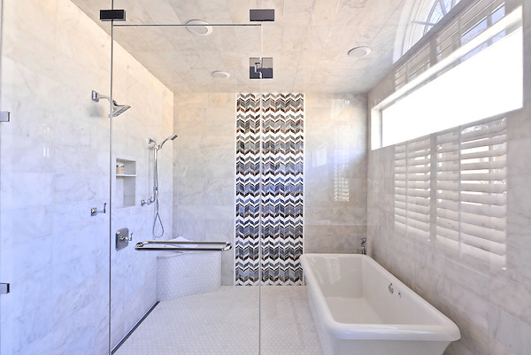This custom shower features Marilyn, a handmade mosaic shown in Tourmaline, Absolute White, Lavastone and Labradorite jewel glass is part of the Ann Sacks Beau Monde collection by Sara Baldwin and is sold exclusively at www.annsacks.com<br /> -photo courtesy of Traci Connell Interiors, Dallas<br /> www.traciconnellinteriors.com