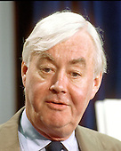 Washington, DC - (FILE) -- United States Senator Daniel Patrick Moynihan (Democrat of New York) speaks to reporters in the United States Capitol on his plan to cut Social Security taxes in Washington, D.C. on Tuesday, July 31, 1990..Credit: Ron Sachs / CNP
