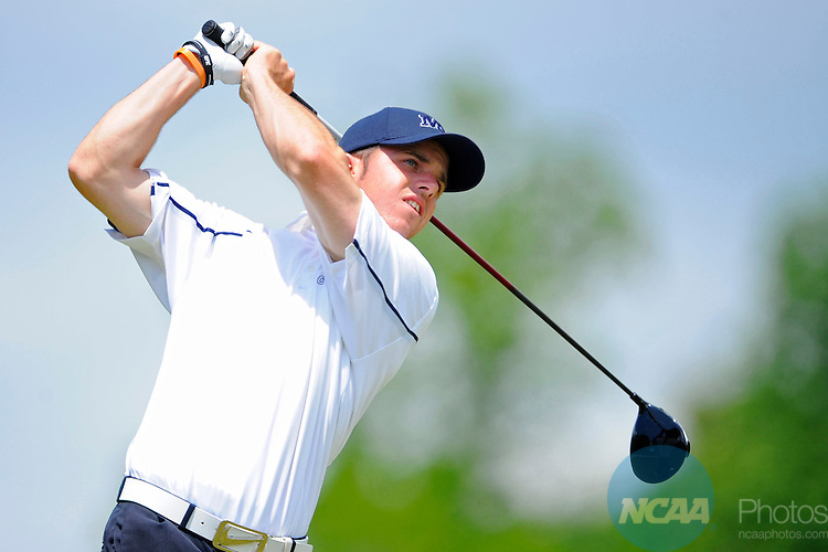 18 MAY 2011: Dylan Jackson of CSU-Montrey Bay watches his tee shot during the Division II Men's Golf Championship held at The Robert Trent Jones Golf Trail at the Shoals in Florence, AL. Jackson tied for 14th place with a 219 score. Cliff Williams/NCAA Photos