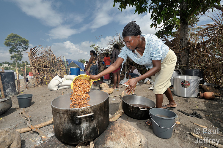 A woman cooks a meal for hundreds of people in one homeless camp in Jacmel, a town on Haiti's southern coast that was ravaged by the January 12 earthquake.