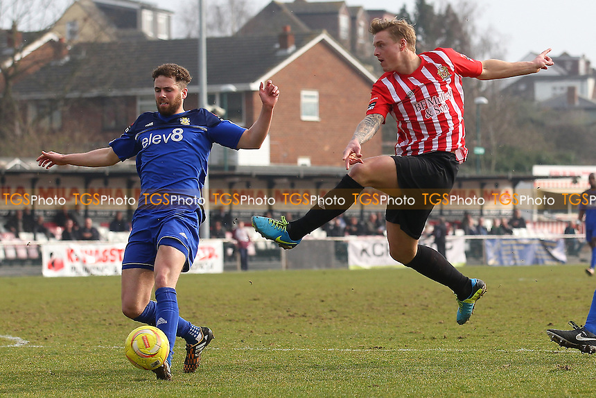 George Purcell with a shot on goal during AFC Hornchurch vs Aveley, Ryman League Divison 1 North Football at Hornchurch Stadium on 12th March 2016