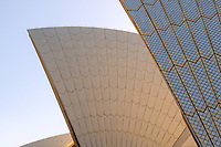The Sydney Opera House is one of the world's most identifiable images.  This view of the roof lines reveals the fine tile work and colors.