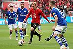 11.05.2019, BayArena, Leverkusen, GER, 1. FBL, Bayer 04 Leverkusen vs. FC Schalke 04 ,<br />  <br /> DFL regulations prohibit any use of photographs as image sequences and/or quasi-video<br /> <br /> im Bild / picture shows: <br /> Julian Brandt (Leverkusen #10), im Zweikampf gegen  Omar Mascarell (FC Schalke #6), Matija Nastasic (FC Schalke #5), <br /> <br /> Foto &copy; nordphoto / Meuter