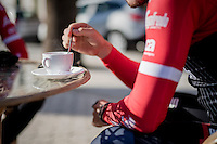 mid ride coffee brake<br /> <br /> Team Trek-Segafredo Training Camp <br /> january 2017, Mallorca/Spain