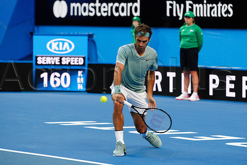 02.01.2017. Perth Arena, Perth, Australia. Mastercard Hopman Cup International Tennis tournament. Roger Federer (SUI) plays a back hand during his match against Dan Evans (GBR). Federer won 6-3, 6-4.