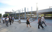 NWA Democrat-Gazette/ANDY SHUPE<br /> Members of the Board of Directors of the Walton Arts Center, walk Tuesday, Sept. 22, 2015, during a tour of the new administrative offices being constructed as part of Fayetteville's $12.3 million municipal parking deck project. The arts center contributed more than $2.2 million to the project which will house administrative staff and include additional back-of-house space for the performing arts center. Visit nwadg.com/photos to see more photographs from the tour.