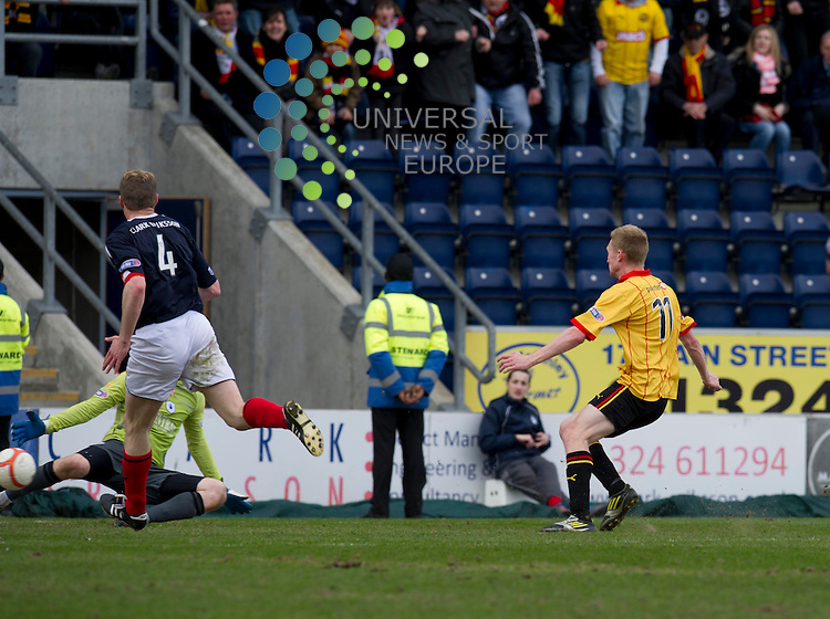 Chris Erskine of Partick Thistle scores the second goal for his team during the Scottish Football League First Division match  between Falkirk and Partick Thistle at The Falkirk Stadium, Falkirk. 20 April 2013. Picture by Ian Sneddon / Universal News and Sport (Scotland). All pictures must be credited to www.universalnewsandsport.com. (Office) 0844 884 51 22. .