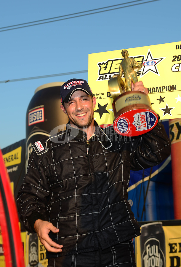 Jul. 1, 2012; Joliet, IL, USA: NHRA  super street driver Rick Shipp celebrates after winning the Route 66 Nationals at Route 66 Raceway. Mandatory Credit: Mark J. Rebilas-