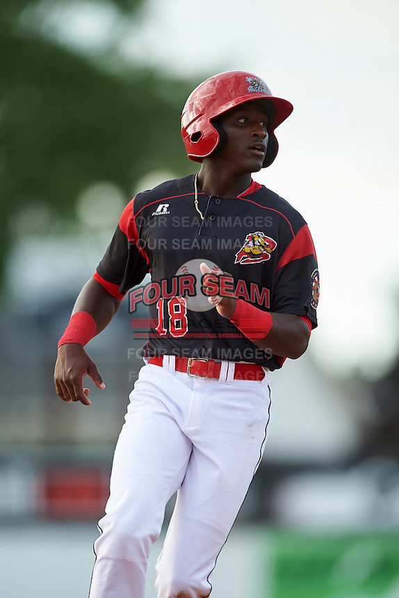 Batavia Muckdogs center fielder Isaiah White (18) during a game against the State College Spikes on June 22, 2016 at Dwyer Stadium in Batavia, New York.  State College defeated Batavia 11-1.  (Mike Janes/Four Seam Images)