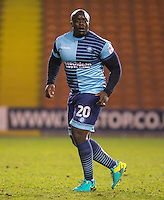 Adebayo Akinfenwa of Wycombe Wanderers during the The Checkatrade Trophy match between Blackpool and Wycombe Wanderers at Bloomfield Road, Blackpool, England on 10 January 2017. Photo by Andy Rowland / PRiME Media Images.