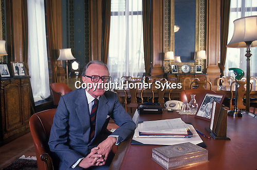 Lord Carrington at home. Home Counties England. Circa 1975