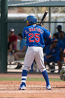 Chicago Cubs right fielder Eddy Martinez (25) at bat during a Minor League Spring Training game against the Oakland Athletics at Sloan Park on March 13, 2018 in Mesa, Arizona. (Zachary Lucy/Four Seam Images)