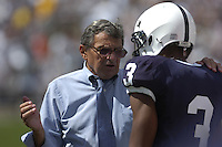 01 September 2007:  Penn State coach Joe Paterno talks with WR Deon Butler (3) on the side line.  The Penn State Nittany Lions defeated the Florida International Golden Panthers 59-0 September 1, 2007 at Beaver Stadium in State College, PA..