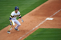 Michigan Wolverines third baseman Jake Bivens (18) leads off third base during the first game of a doubleheader against the Canisius College Golden Griffins on June 20, 2016 at Tradition Field in St. Lucie, Florida.  Michigan defeated Canisius 6-2.  (Mike Janes/Four Seam Images)