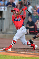 Peoria Chiefs designated hitter JR Davis (7) swings at a pitch against the Cedar Rapids Kernels at Veterans Memorial Stadium on June 16, 2018 in Cedar Rapids, Iowa. The Kernels won 12-4.  (Dennis Hubbard/Four Seam Images)