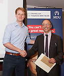 22/07/2015 GP Trainee Awards and Michael Lennard Reception 2015 hosted at The Holiday Inn, Filton, Bristol, by MDU.  Dr Charlie Kenward from the Bath patch receives an award from Dr Ray Montague, chairman of Brisdoc.