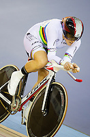 19 FEB 2012 - LONDON, GBR - Canada's Tara Whitten (CAN) gives chase during the Individual Pursuit round of the Women's Omnium at the UCI Track Cycling World Cup, and London Prepares test event for the 2012 Olympic Games, in the Olympic Park Velodrome in Stratford, London, Great Britain (PHOTO (C) 2012 NIGEL FARROW)