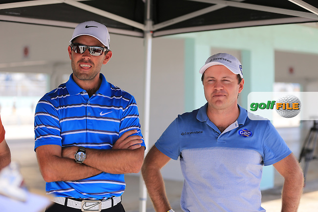 Charl Schwartzel (RSA) and Richard Sterne (RSA) at the Cadillac performance outing at the Miami Speedway during the WGC Cadillac championship at Doral Golf Resort & Spa,Doral, Florida,USA..Picture: Fran Caffrey / www.golffile.ie ..