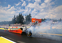 Aug. 2, 2014; Kent, WA, USA; NHRA top fuel dragster driver Mike Salinas during qualifying for the Northwest Nationals at Pacific Raceways. Mandatory Credit: Mark J. Rebilas-