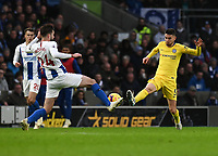 Brighton & Hove Albion's Davy Propper (left) and Chelsea's Jorginho (right) battle for pocession.<br /> <br /> Photographer David Horton/CameraSport<br /> <br /> The Premier League - Brighton and Hove Albion v Chelsea - Sunday 16th December 2018 - The Amex Stadium - Brighton<br /> <br /> World Copyright © 2018 CameraSport. All rights reserved. 43 Linden Ave. Countesthorpe. Leicester. England. LE8 5PG - Tel: +44 (0) 116 277 4147 - admin@camerasport.com - www.camerasport.com