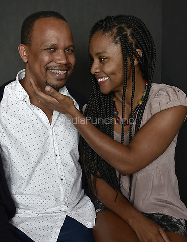 MIAMI BEACH, FL - MARCH 05: Director Kareem Mortimer and actress Gessica Geneus from the film 'Cargoí poses for a portrait in the Vallerymag.com Portrait Studio during the 2017 Miami Dade Collegeís 34th Miami Film Festival portrait at The Standard Hotel on March 5, 2017 in Miami Beach, Florida. Credit: MPI10 / MediaPunch