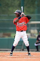 Atlanta Braves infielder Ozhaino Albies (1) during an Instructional League game against the Houston Astros on September 22, 2014 at the ESPN Wide World of Sports Complex in Kissimmee, Florida.  (Mike Janes/Four Seam Images)