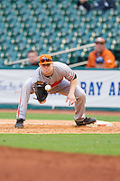 Sam Houston State Bearkats first baseman Ryan O'Hearn #27 waits for a throw during the game against the Texas Christian Horned Frogs at Minute Maid Park on February 28, 2014 in Houston, Texas.  The Bearkats defeated the Horned Frogs 9-4.  (Brian Westerholt/Four Seam Images)
