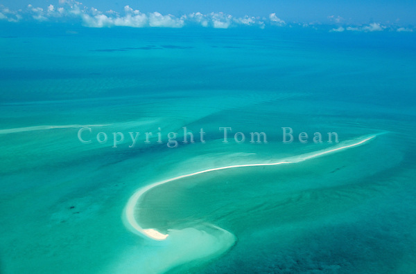 Sand bar in shallow seas of Grand Bahama Bank, aerial view north of Exuma in the Bahama Islands, AGPix_0114.