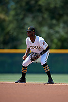 GCL Pirates second baseman Yoyner Fajardo (7) during a Gulf Coast League game against the GCL Braves on July 30, 2019 at Pirate City in Bradenton, Florida.  GCL Braves defeated the GCL Pirates 10-4.  (Mike Janes/Four Seam Images)