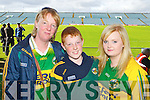 Elisa Greaney, Liam Greaney and Aoife Greaney from Moyvane, pictured enjoying the Clare v Kerry game in Limerick on Saturday..