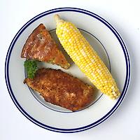 Blue plate special - chicken, corn on the cob broccoli cornbread