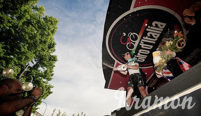 2013 Giro d'Italia.stage 13: Busseto - Cherasco..champagne shower by winner  Mark Cavendish (GBR)