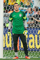 Brazil goalkeeper Julio Cesar warming up before kick off