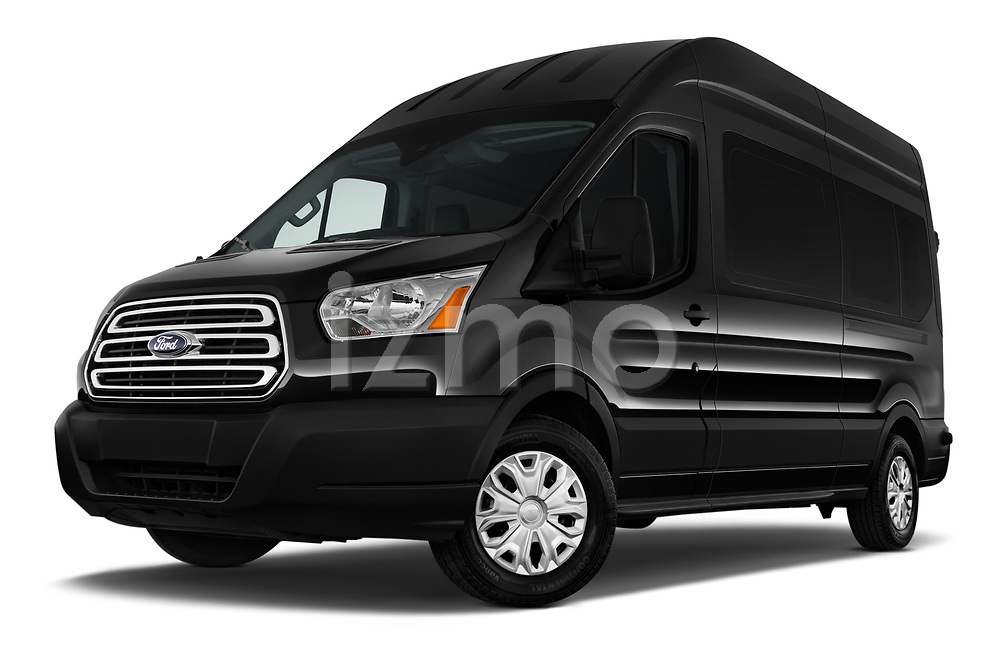 Stock pictures of low aggressive front three quarter view of a 2019 Ford Transit Wagon 350 XLT Wagon High Roof Pass Slide 148WB 5 Door Passenger Van