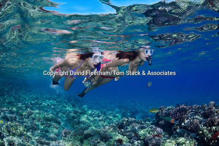 Two young girls (MR) free diving at Molokini Marine Reserve, Maui, Hawaii.