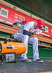 15 May 2016: Washington Nationals outfielder Bryce Harper warms up in the dugout prior to a game against the Miami Marlins at Nationals Park in Washington, DC. The Marlins defeated the Nationals 5-1 in the final game of their 4-game series.  Mandatory Credit: Ed Wolfstein Photo *** RAW (NEF) Image File Available ***