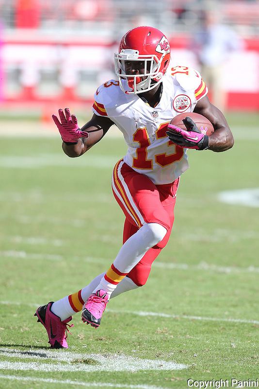 Kansas City Chiefs running back De'Anthony Thomas #13 in action against the San Francisco 49ers during an NFL game at Levi's Stadium in Santa Carla, CA on Sunday,October 5, 2014. (AP Photo/Michael Zito)