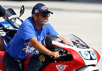 Sep 28, 2013; Madison, IL, USA; NHRA pro stock motorcycle rider Wesley Wells during qualifying for the Midwest Nationals at Gateway Motorsports Park. Mandatory Credit: Mark J. Rebilas-