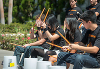 Oxy Drumline. Over 100 organizations and departments set up in the Academic Quad to talk about what their organization is about and how students can participate at Occidental College's Involvement Fair, September 12, 2013. (Photo by Marc Campos, Occidental College Photographer)