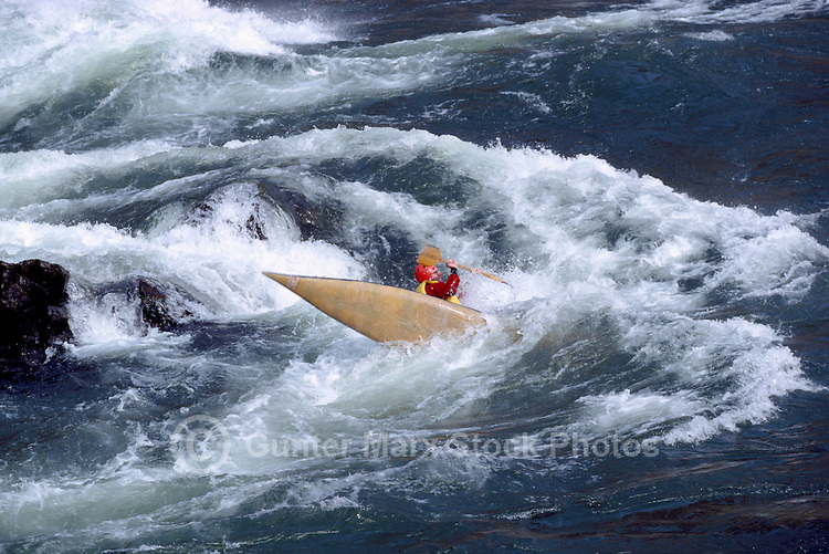 Whitewater Kayaking in Thompson River Rapids near Spences Bridge, BC, British Columbia, Canada