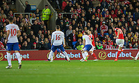 Gareth Bale of Wales scores his side's first goal during the FIFA World Cup Qualifying match between Wales and Serbia at the Cardiff City Stadium, Cardiff, Wales on 12 November 2016. Photo by Mark  Hawkins.
