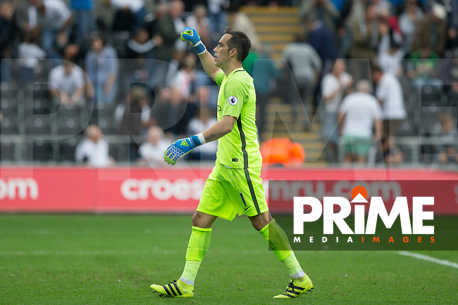 Claudio Bravo of Manchester City celebrates his side's win at full time of the EPL - Premier League match between Swansea City and Manchester City at the Liberty Stadium, Swansea, Wales on 24 September 2016. Photo by Mark  Hawkins.