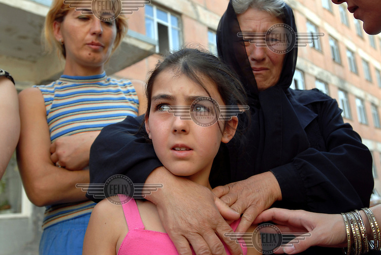 10 year old IDP Nino Kabulashvili with her grandmother who have recently arrived from the conflict-affected area around Gori.