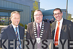 Donnacha Gallivan Builder, Kerry Mayor Bobby O'Connell and Kerry County Manager Tom Curran at opened the Kerry County Council offices and KCC Library in Castleisland on Friday